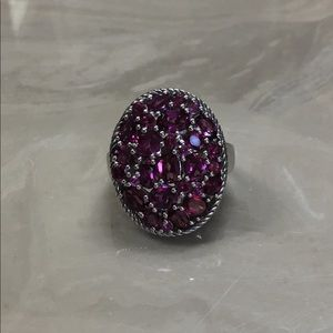 Genuine Rhodolite Ring in Sterling Size 8
